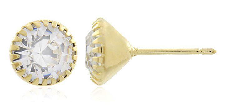 Brinco Ponto Luz M Zircônia Dourado Duquesa Semi joias