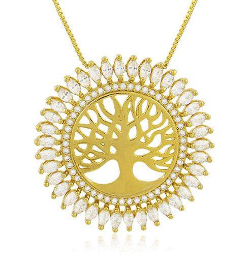 Colar Árvore da Vida Zircônia Dourado Duquesa Semi joias