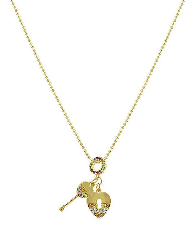 Colar Cadeado Chave Colorida Dourado Duquesa Semi joia