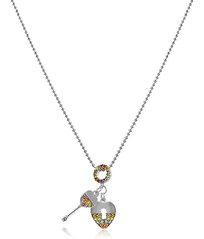 Colar Cadeado Chave Colorido Prateado Duquesa Semi joias