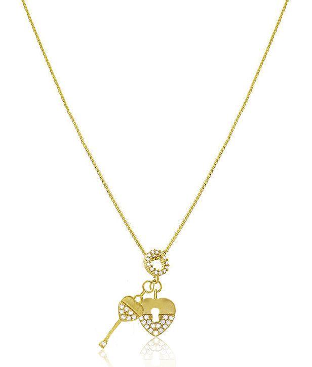Colar Cadeado Chave Cristal Dourado Duquesa Semi joia