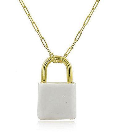 Colar Cadeado Esmaltado Branco Dourado Duquesa Semi joias