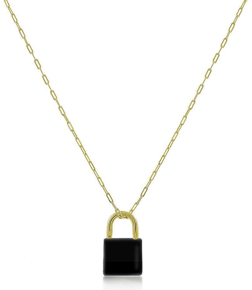 Colar Cadeado Esmaltado Preto Dourado Duquesa Semi joias