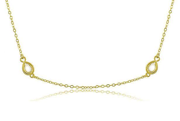Colar Chocker 4 Pedras Cristal Dourado Duquesa Semi joia