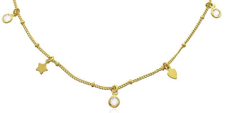 Colar Choker Estrela Coração Dourado Duquesa Semi joias