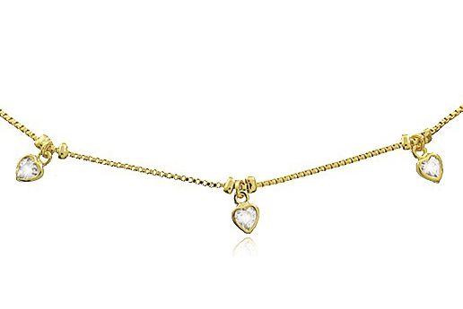 Colar Choker Coração Zircônia Dourado Duquesa Semi joias