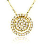 Colar Círculo Cravejado Zircônia Dourado Duquesa Semi joia