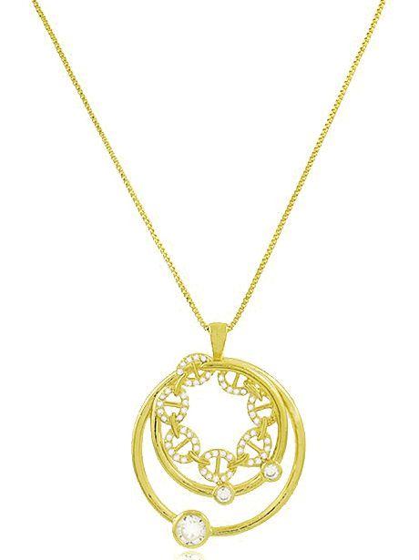 Colar Círculos Zircônia Cristal Dourado Duquesa Semi joias