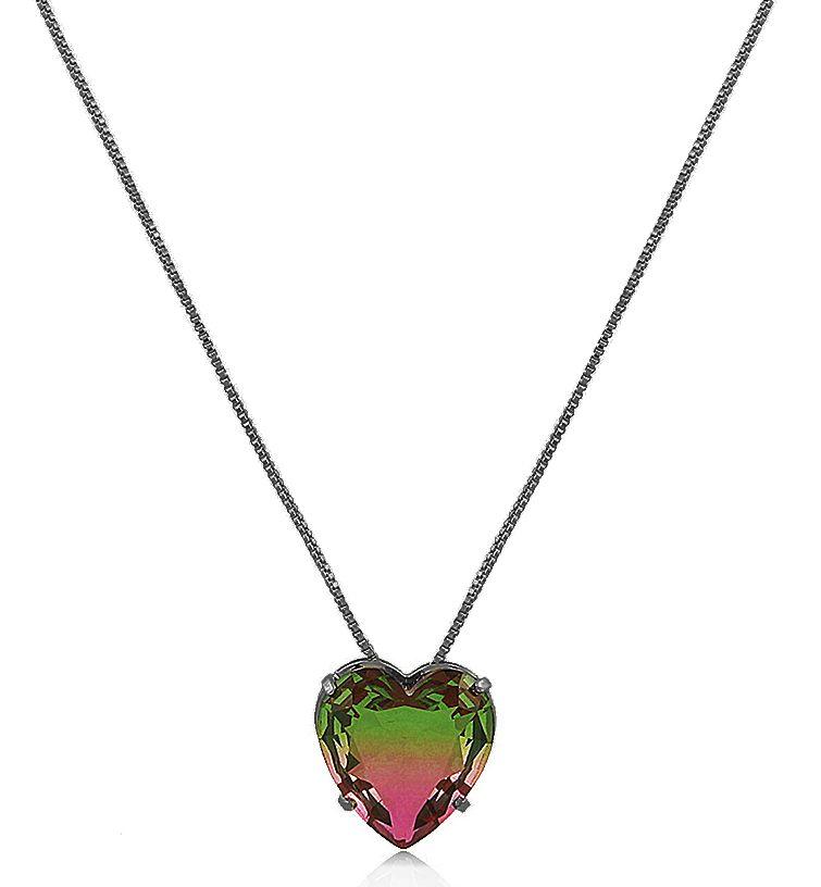 Colar Coração Bicolor Verde Rosa Negro Duquesa Semi joias
