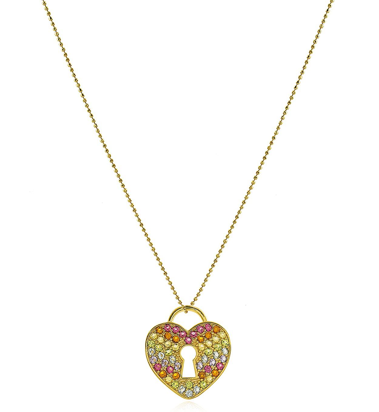 Colar Coração Cadeado Colorido Dourado Duquesa Semi joia
