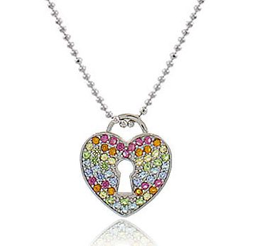 Colar Coração Cadeado Colorido Prateado Duquesa Semi joia