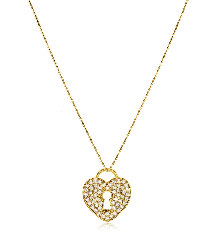 Colar Coração Cadeado Zircônia Dourado Duquesa Semi joia