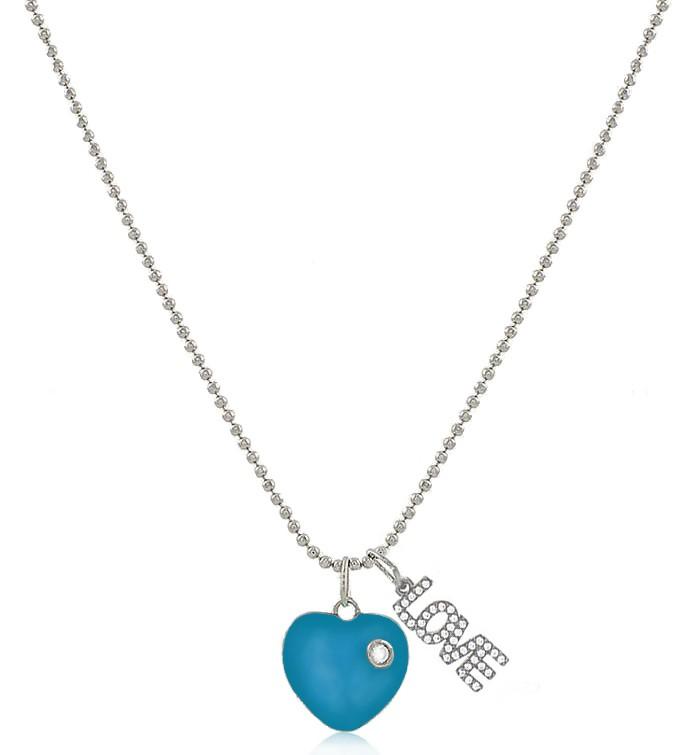 Colar Coração Esmaltado Azul Love Prateado Duquesa Semi joia