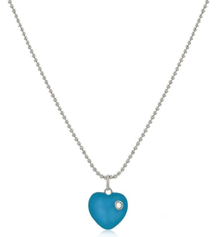Colar Coração Esmaltado Azul Prateado Duquesa Semi joias