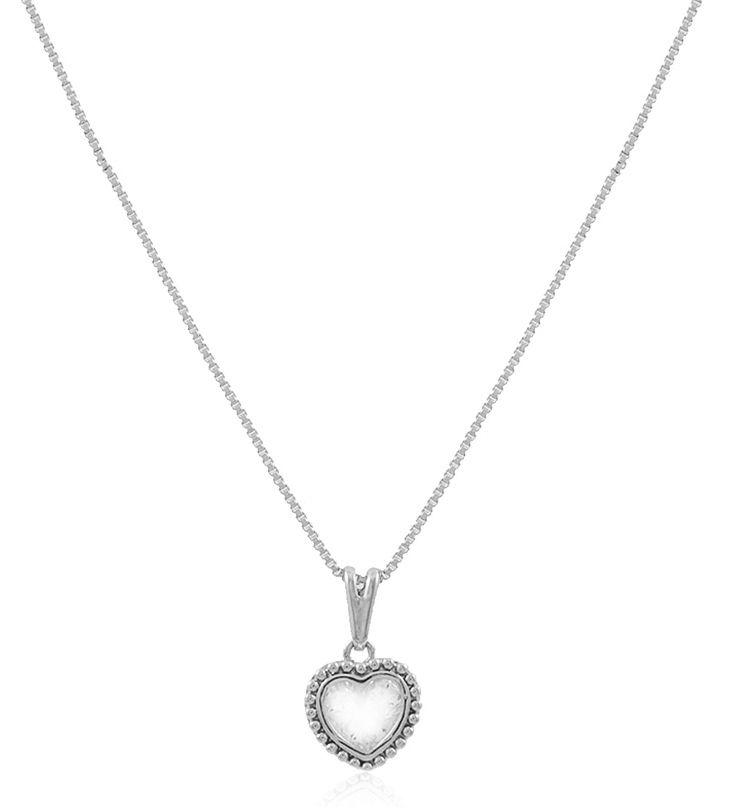Colar Coração Pingente Zircônia Prateado Duquesa Semi joias