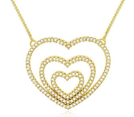 Colar Corações Cravejados Zircônia Dourado Duquesa Semi joia