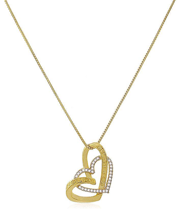 Colar Corações I Love You Forever Dourado Duquesa Semi joias