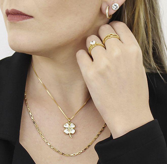 Colar Corrente Elos Cartier Dourado Duquesa Semi joias