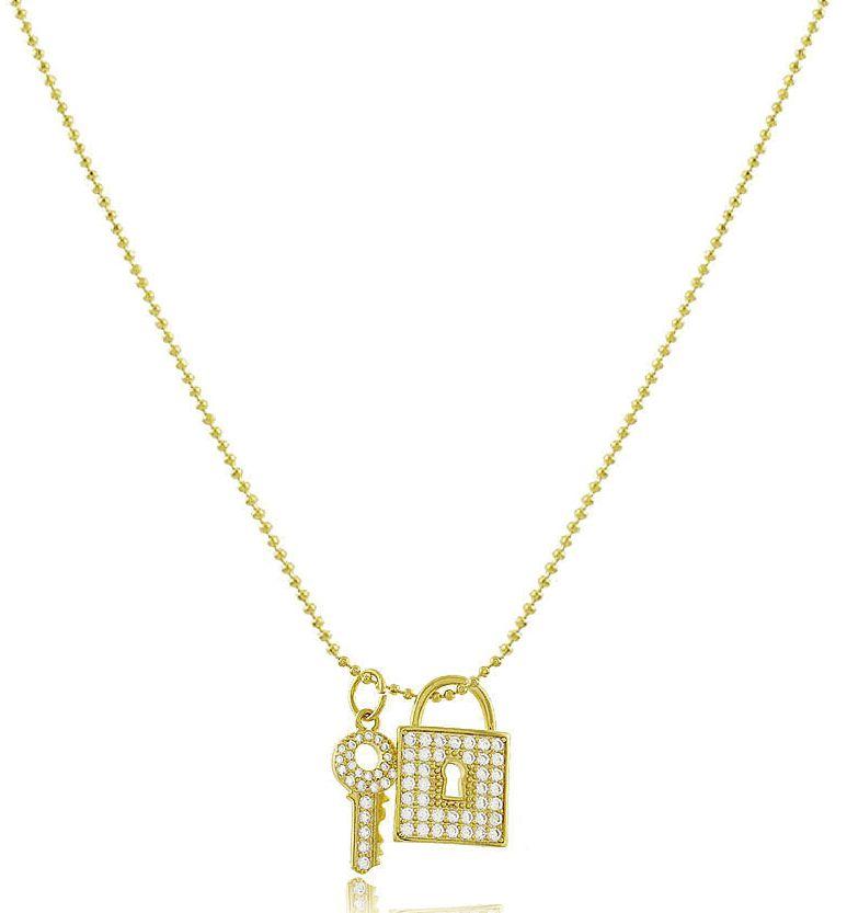 Colar Corrente Cadeado Chave cor Dourado Duquesa Semi joias
