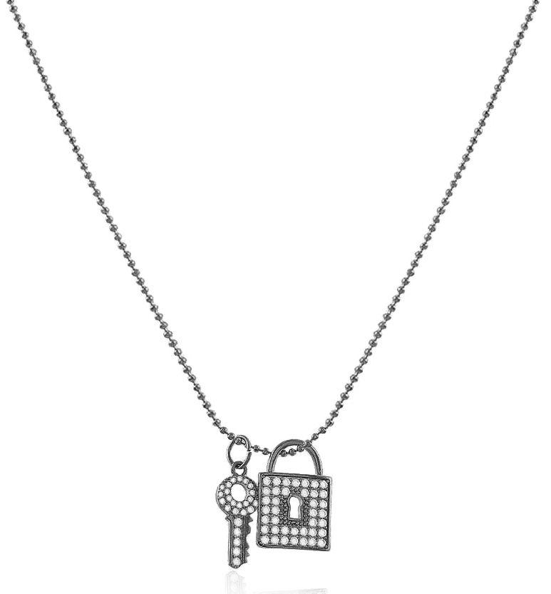 Colar Corrente Cadeado Chave Cristal Negro Duquesa Semi joia