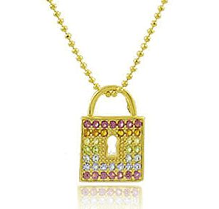 Colar Corrente Cadeado Colorido Dourado Duquesa Semi joia