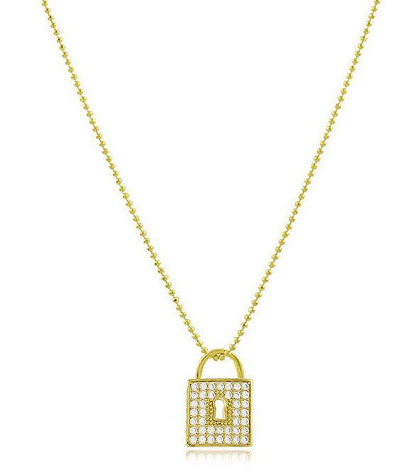 Colar Corrente Cadeado Cristal Dourado Duquesa Semi joias