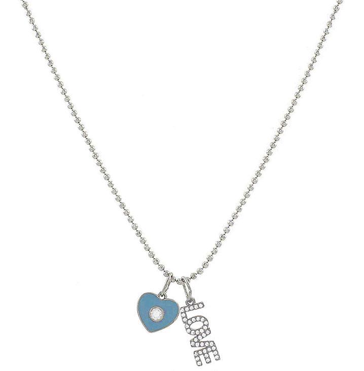 Colar Corrente Coração Love Azul Prateado Duquesa Semi joias