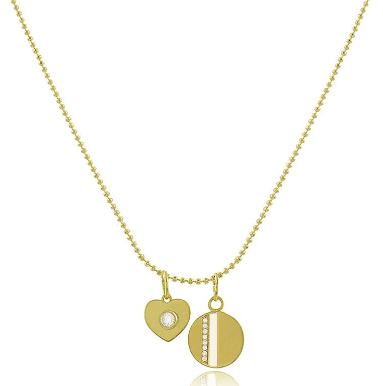 Colar Corrente Coração Medalha Branco Dourado Duquesa joias