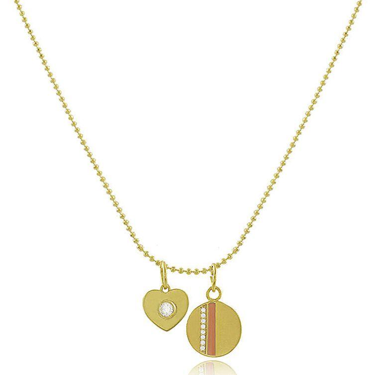Colar Corrente Coração Medalha Salmão Dourado Duquesa joias