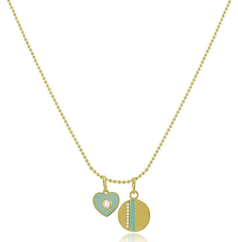 Colar Corrente Coração Medalha Tiffany Dourado Duquesa joias