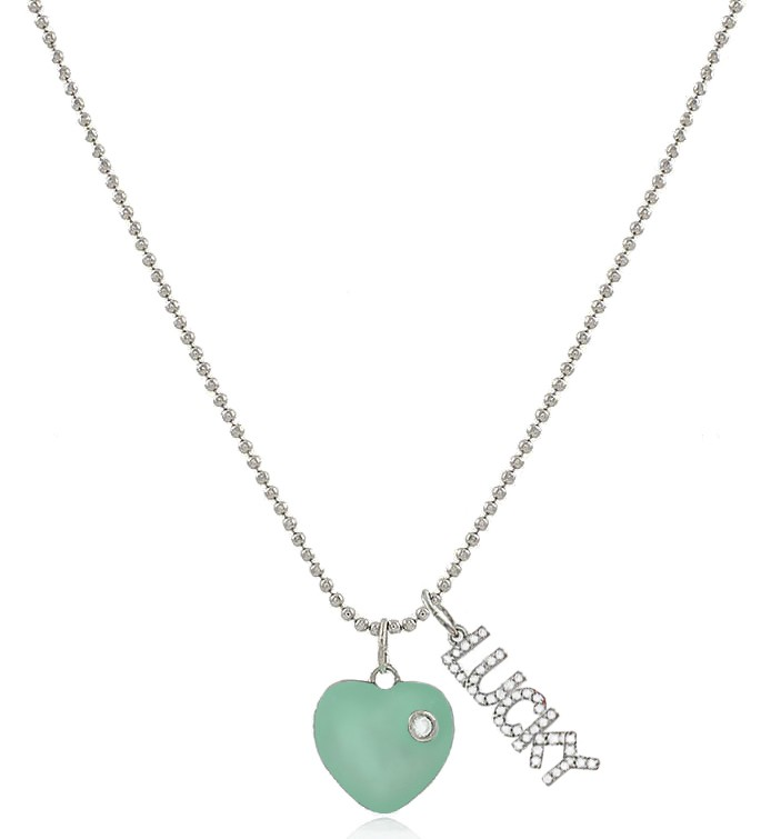 Colar Coração Esmaltado Tiffany Lucky Prateado Duquesa joias