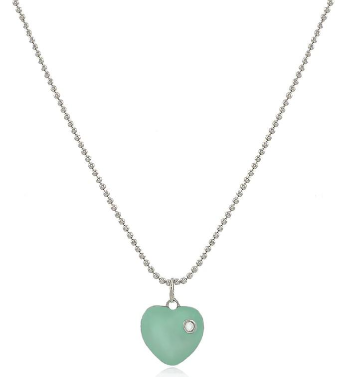 Colar Coração Esmaltado Tiffany Prateado Duquesa Semi joias