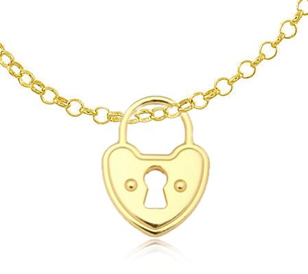 Colar Corrente Elo Cadeado Grande Dourado Duquesa Semi joia