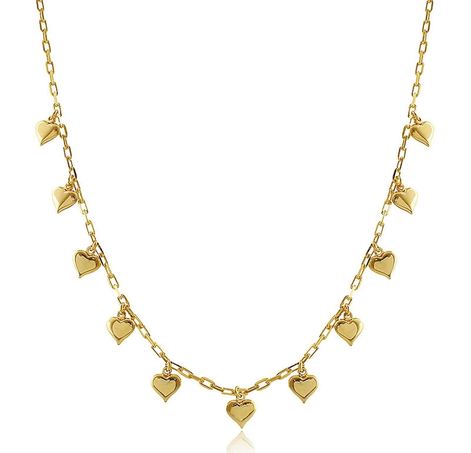 Colar Corrente Elos Cartier Coração Dourado Duquesa Semijoia