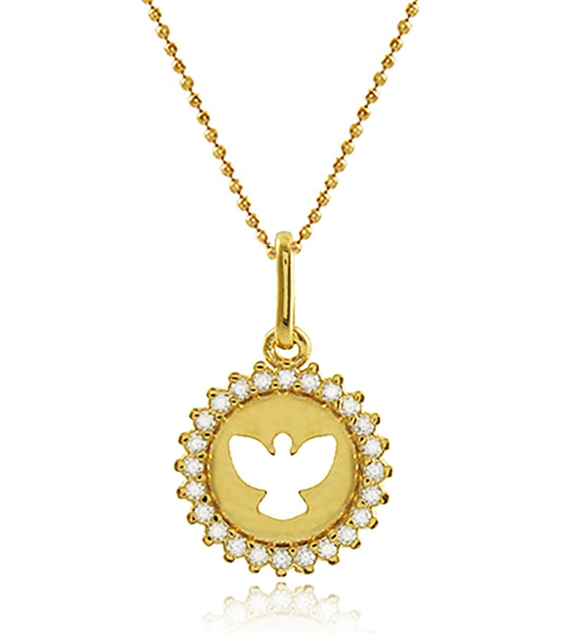 Colar Corrente Espírito Santo Dourado Duquesa Semi joia