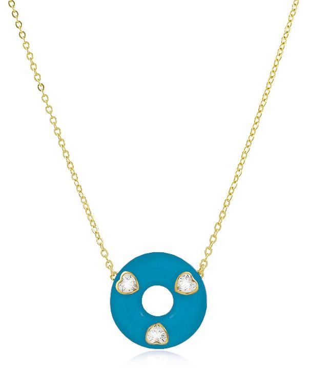 Colar Mandala Azul Zirconia Coração Dourado Duquesa Semijoia