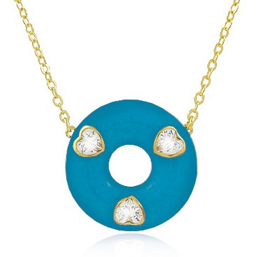 Colar Esmaltado Coração Azul Dourado Duquesa Semi joias