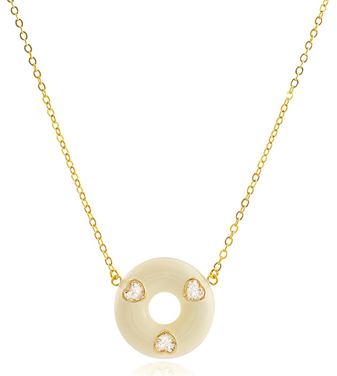 Colar Esmaltado Coração Branco Dourado Duquesa Semi joias