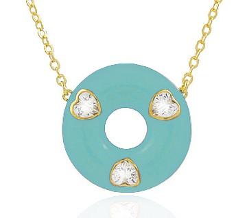 Colar Esmaltado Coração Tiffany Dourado Duquesa Semi joias