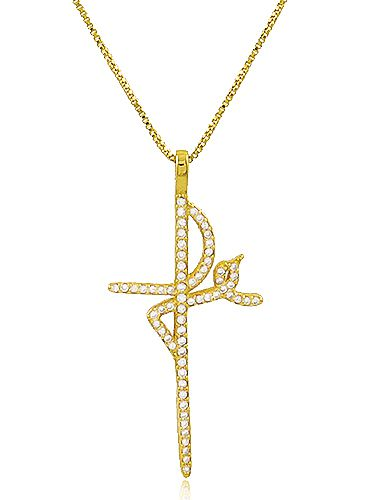 Colar Fé Cravejado Zircônia Dourado Duquesa Semi joias