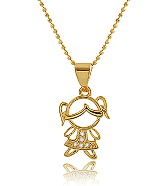 Colar Menina Filha com Zircônia Dourado Duquesa Semi joias