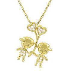 Colar Filhos dois Meninos Balão Dourado Duquesa Semi joias