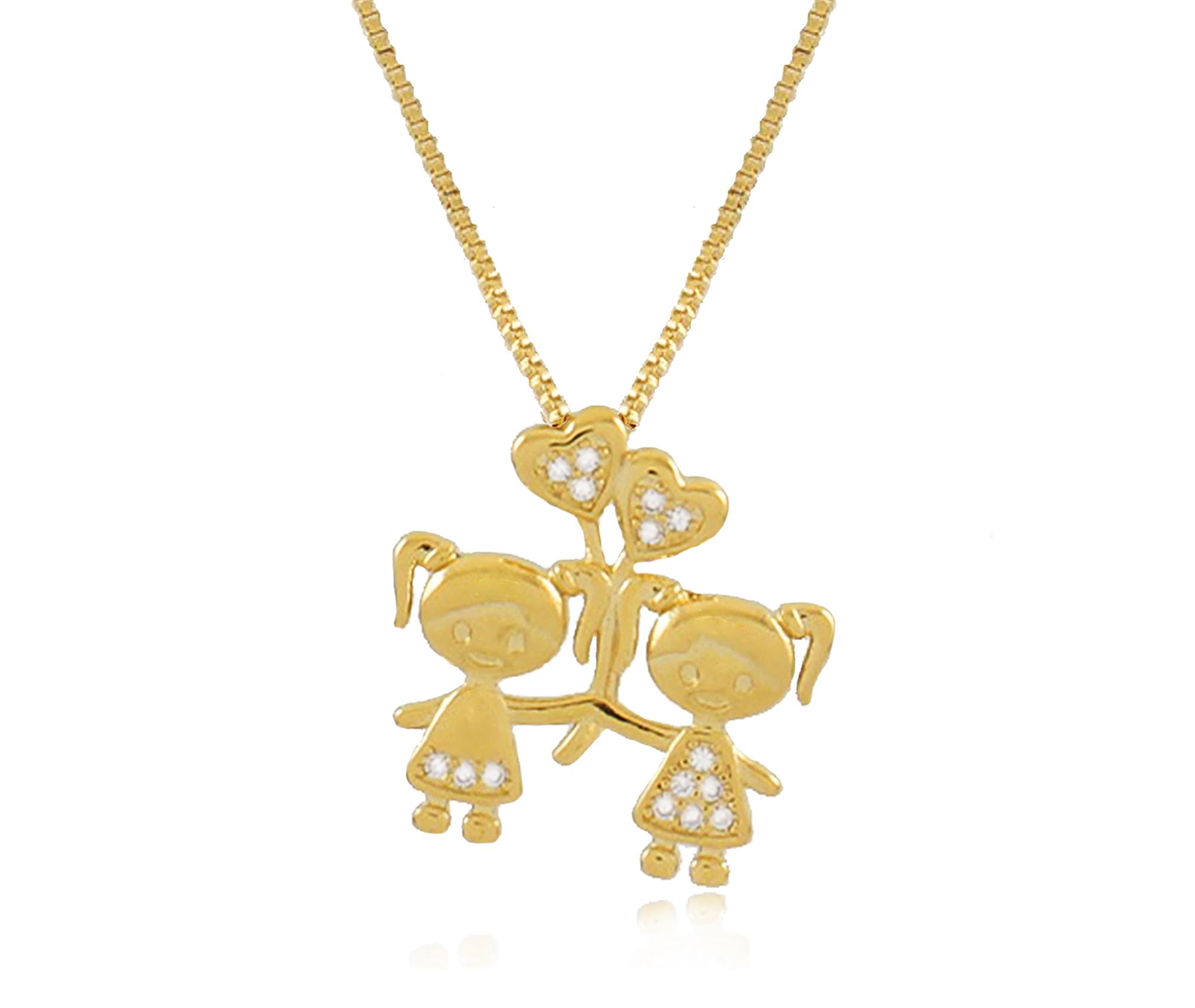Colar Filhos duas Meninas Balão Dourado Duquesa Semi joias