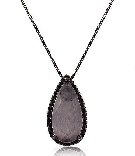 Colar Gota Calcedônia Rosê Zircônia Negro Duquesa Semi joias