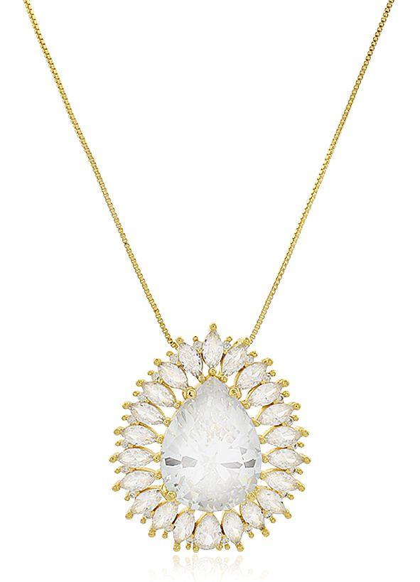 Colar Gota Luxo Zircônia Cristal Dourado Duquesa Semi joias