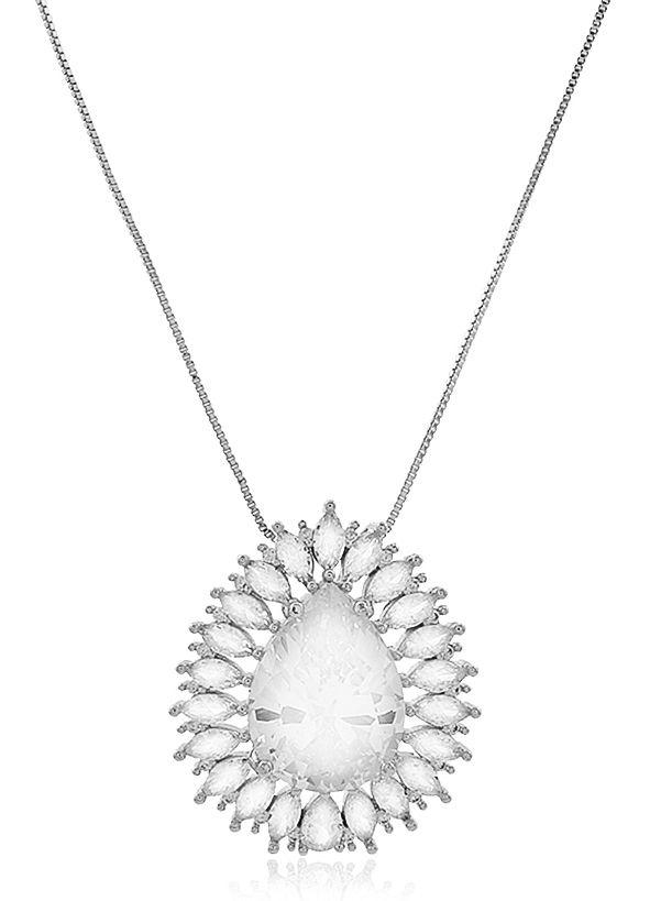 Colar Gota Luxo Zircônia Cristal Prateado Duquesa Semi joias