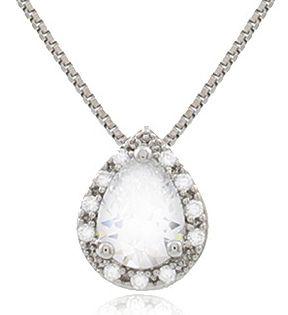 Colar Gota Mini Zircônia Cristal Prateado Duquesa Semi joias