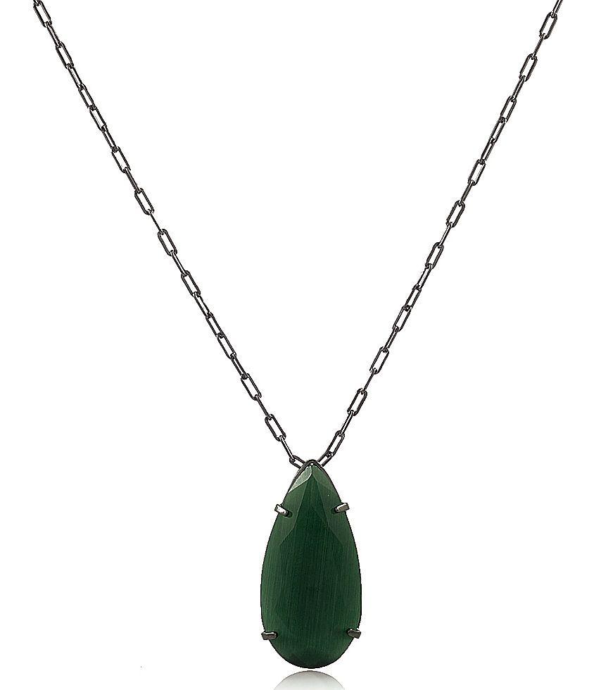 Colar Gota Pedra Calcedônia Verde Negro Duquesa Semi joias