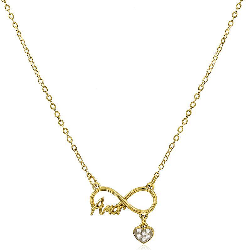 Colar Infinito Coração Amor Dourado Duquesa Semi joias