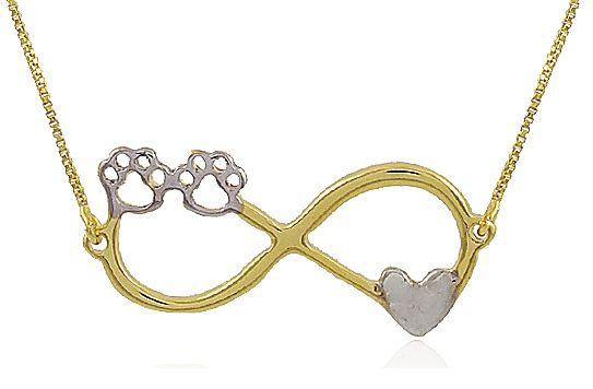 Colar Infinito Pet Pata Coração Dourado Duquesa Semi joias